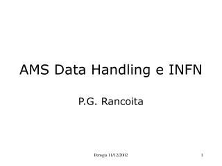 AMS Data Handling e INFN