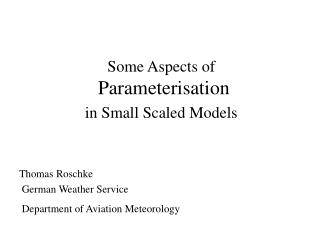 Some Aspects of  Parameterisation   in Small Scaled Models