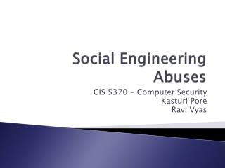 Social Engineering Abuses
