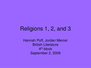 Religions 1, 2, and 3