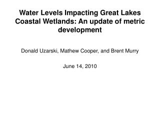 Water Levels Impacting Great Lakes Coastal Wetlands: An update of metric development