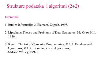 Strukture podataka  i algoritmi (2+2)