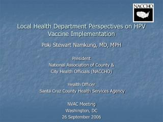 Local Health Department Perspectives on HPV Vaccine Implementation