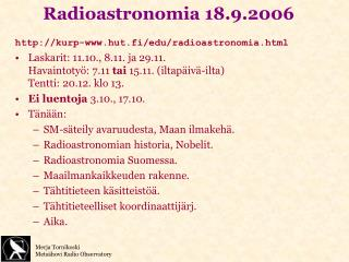 Radioastronomia 18.9.2006