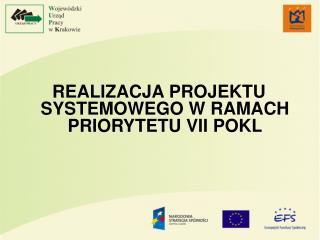 REALIZACJA PROJEKTU SYSTEMOWEGO W RAMACH PRIORYTETU VII POKL