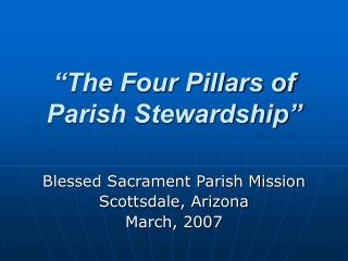The Four Pillars of Parish Stewardship