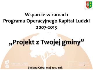 Wsparcie w ramach Programu Operacyjnego Kapitał Ludzki 2007-2013