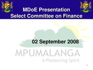 MDoE Presentation  Select Committee on Finance