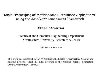 Elias S. Manolakos Electrical and Computer Engineering Department