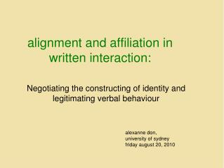 alignment and affiliation in written interaction: