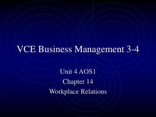 VCE Business Management 3-4