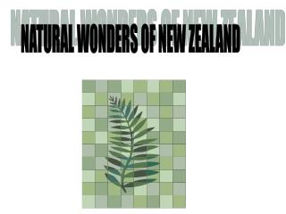 NATURAL WONDERS OF NEW ZEALAND
