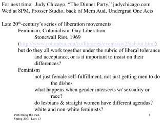 """For next time:  Judy Chicago, """"The Dinner Party,"""" judychicago"""