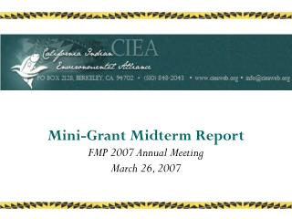 Mini-Grant Midterm Report FMP 2007 Annual Meeting  March 26, 2007