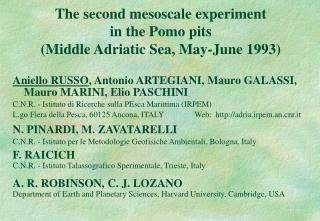 The second mesoscale experiment  in the Pomo pits  (Middle Adriatic Sea, May-June 1993)