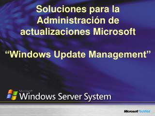 Soluciones para la Administraci n de actualizaciones Microsoft   Windows Update Management