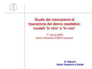 """Studio dei meccanismi di riparazione del danno ossidativo: modelli """"in vitro"""" e """"in vivo"""""""