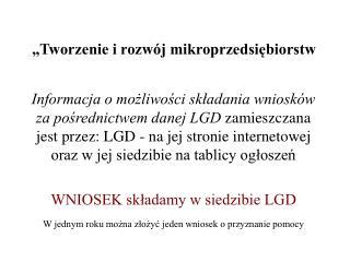 """""""Tworzenie i rozwój mikroprzedsiębiorstw"""