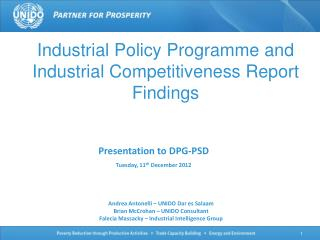 Industrial Policy Programme and Industrial Competitiveness Report Findings