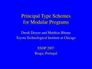 Principal Type Schemes for Modular Programs