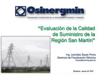 Ing. Leonidas Sayas Poma Gerencia de Fiscalización Eléctrica lsayas@osinerg.gob.pe