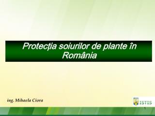 Protecţia soiurilor  de  plante în România