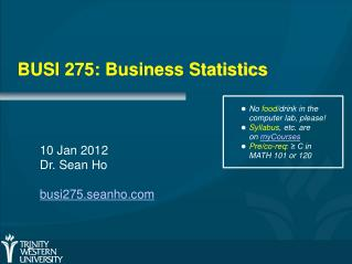BUSI 275: Business Statistics