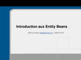 Introduction aux Entity Beans