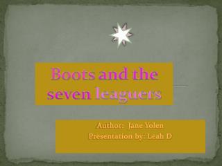 Author:  Jane Yolen  Presentation by: Leah D