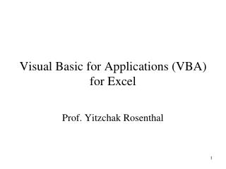 Visual Basic for Applications VBA for Excel