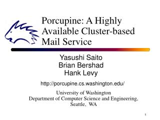 Porcupine: A Highly Available Cluster-based Mail Service