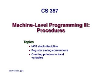 Machine-Level Programming III: Procedures