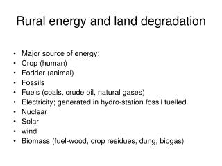 Rural energy and land degradation