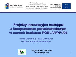 Projekty innowacyjne testujące  z komponentem ponadnarodowym w ramach konkursu POKL/VI/PI/1/09