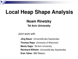 Local Heap Shape Analysis