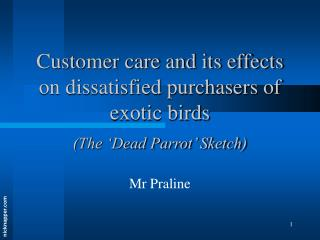 Customer care and its effects on dissatisfied purchasers of exotic birds  The  Dead Parrot  Sketch