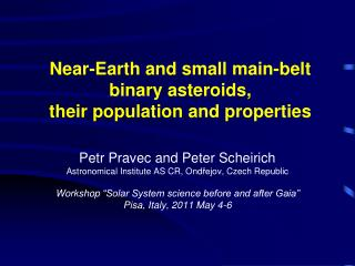 Near-Earth and small main-belt binary asteroids,  their population and properties