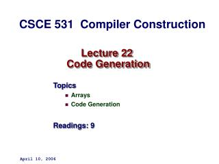 Lecture 22  Code Generation
