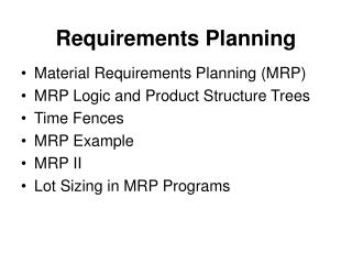 Requirements Planning