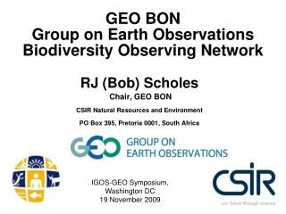 GEO BON  Group on Earth Observations Biodiversity Observing Network