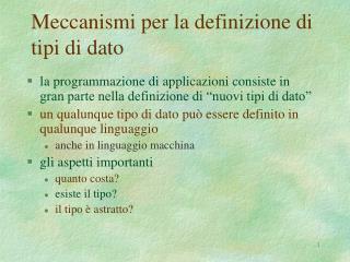Meccanismi per la definizione di tipi di dato