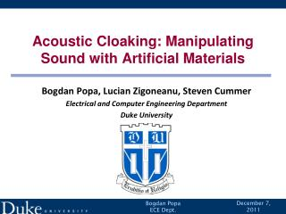 Acoustic Cloaking: Manipulating Sound with Artificial Materials