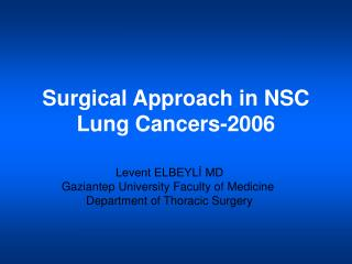 Surgical Approach in NSC Lung Cancers-2006