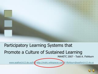 Participatory Learning Systems that Promote a Culture of Sustained Learning