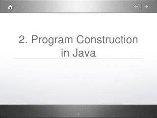 2. Program Construction in Java