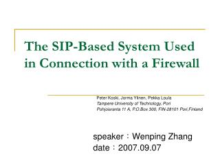 The SIP-Based System Used in Connection with a Firewall