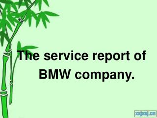 The service report of                    BMW company.