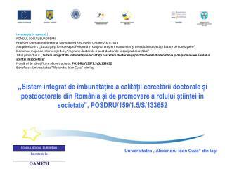 Investeşte în oameni ! FONDUL SOCIAL EUROPEAN