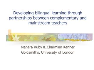 Developing bilingual learning through partnerships between complementary and mainstream teachers