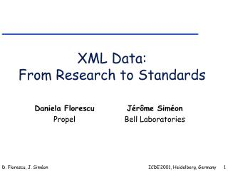 XML Data: From Research to Standards
